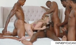 Beautiful blue-eyed in a black gangbang